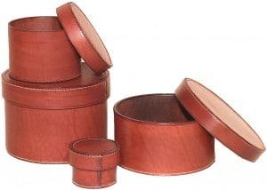 Boites Rondes en cuir Croupon- cousu Main